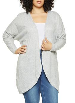 Plus Size Open Front Cardigan - 3912038343104