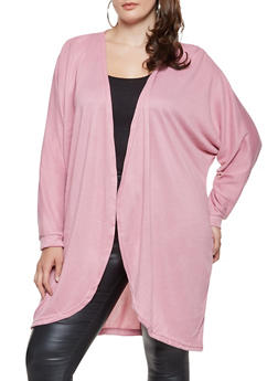 Plus Size Open Front Cardigan - 3912038343104