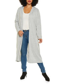 Plus Size Hooded Knit Duster - 3912038343105