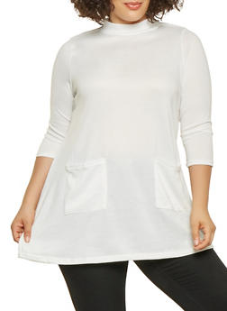 Plus Size Two Pocket Tunic Top - 3912038343106