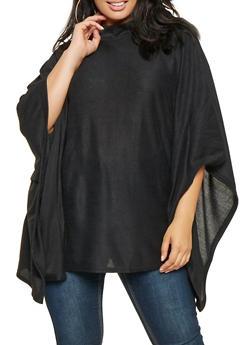Plus Size Knit Poncho - BLACK - 3912038343107