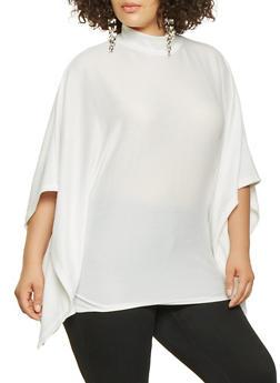Plus Size Knit Poncho - IVORY - 3912038343107