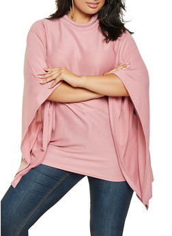 Plus Size Knit Poncho - MAUVE - 3912038343107