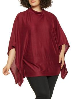 Plus Size Knit Poncho - WINE - 3912038343107