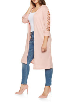 Plus Size Caged Sleeve Duster - 3912038343109