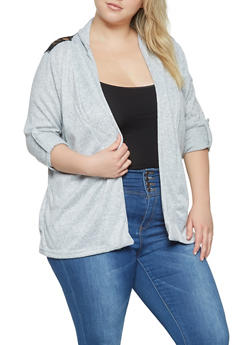 Plus Size Lace Insert Cardigan - 3912038343122