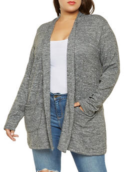 Plus Size Brushed Knit Cardigan - 3912038343123