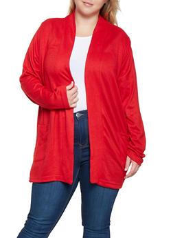 Plus Size Brushed Knit Cardigan - 3912038343123