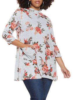 Plus Size Floral Tunic Sweater - 3912038343147