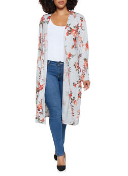 Plus Size Printed Hooded Duster - 3912038343149