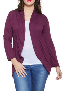 Plus Size Open Front Cardigan - 3912038343152