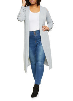 Plus Size Caged Sleeve Duster - 3912038343153