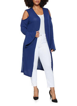 Plus Size Cold Shoulder Bell Sleeve Duster - 3912038343156