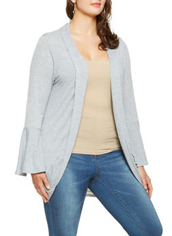 Plus Size Bell Sleeve Cardigan - 3912038343158