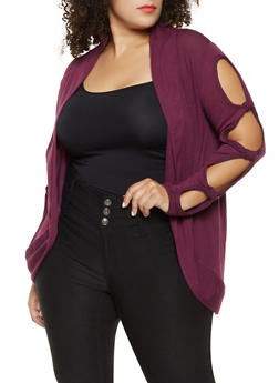 Plus Size Cut Out Cardigan - 3912038343159