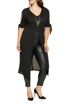 Plus Size Slit Front Maxi Top with Necklace - 3912038343161