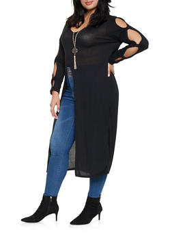 Plus Size Front Slit Maxi Top with Necklace - 3912038343162