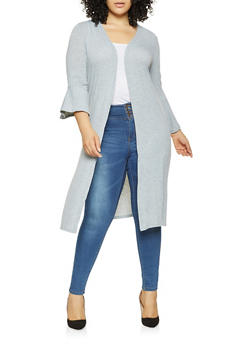 Plus Size Bell Sleeve Duster - 3912038343163