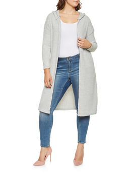 Plus Size Hooded Knit Duster - 3912038343199