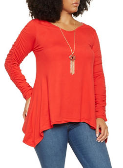 Plus Size Ruched Sleeve Sharkbite Top with Necklace - 3912038343202