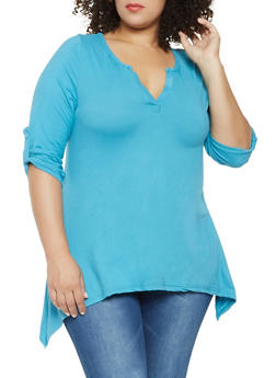 Plus Size Tabbed Sleeve Soft Knit Top - 3912038343203