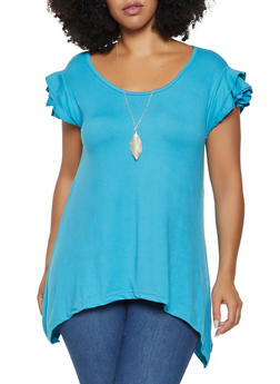 Plus Size Tiered Sleeve Top with Necklace - 3912038343205
