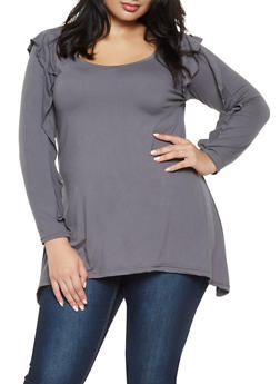 Plus Size Ruffled Long Sleeve Top - 3912038343206