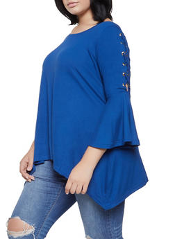 Plus Size Lace Up Bell Sleeve Top - 3912038343207