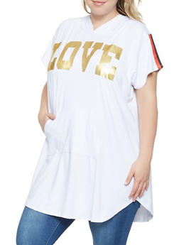 Plus Size Love Graphic Tunic Top - 3912038343218