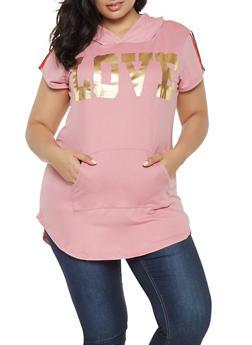 Plus Size Love Graphic Tunic Top - 3912038343218