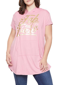 Plus Size Foil Screen Hooded Tunic Top - 3912038343224