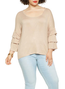 Plus Size Tiered Sleeve Top - 3912038343252