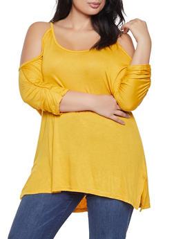 Plus Size Cold Shoulder Top - 3912038343253