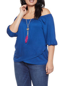 Plus Size Off the Shoulder Top with Necklace - 3912038343254