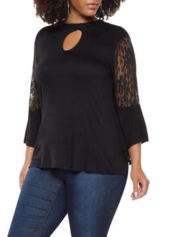 Plus Size Lace Bell Sleeve Top - 3912038343256