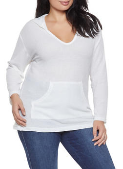Plus Size Waffle Knit Hooded Sweater - 3912038343321