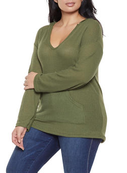 Plus Size Waffle Knit Hooded Sweater - 3912038343321