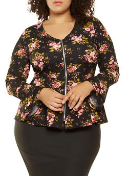 Plus Size Printed Zip Up Peplum Top - 3912038343352