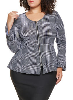 Plus Size Printed Zip Up Peplum Top - BLACK/WHITE - 3912038343352