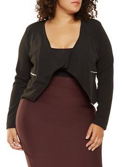 Plus Size Textured Knit Flyaway Jacket - 3912038343353