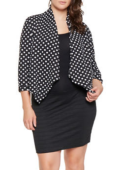 Plus Size Printed Flyaway Blazer - BLACK/WHITE - 3912038343354