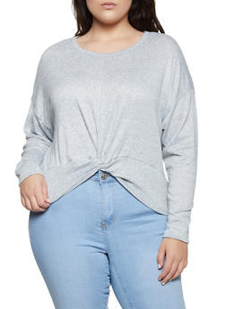 Plus Size Twist Front Sweater - 3912038344172