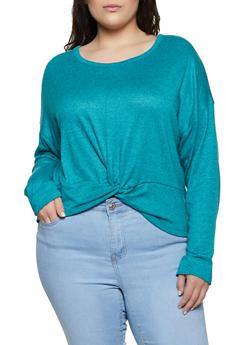Plus Size Twist Front Sweater - 3912038344172