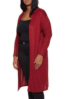 Plus Size Knit Hooded Duster - 3912038344174