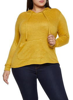 Plus Size Marled Hooded Top - 3912038344175