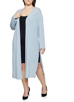 Plus Size Side Slit Lightweight Duster | 3912038344178 - 3912038344178