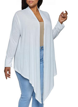 Plus Size Solid Drape Front Cardigan - 3912038344180