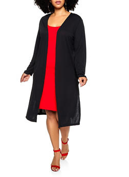 Plus Size Side Slit Lightweight Duster - 3912038344183