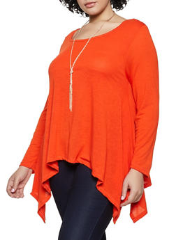 Plus Size Long Sleeve Sharkbite Hem Top with Necklace - 3912038344186