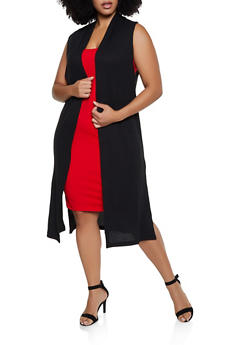Plus Size Sleeveless Waffle Knit Duster - 3912038344196